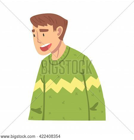 Talking Young Man, Guy Discussing Latest News Or Gossiping Cartoon Vector Illustration