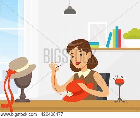 Woman Designer Making Hats, Craft Hobby Or Profession Vector Illustration