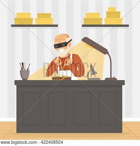 Male Jeweler Making Jewelry At Workplace, Craft Hobby Or Profession Vector Illustration