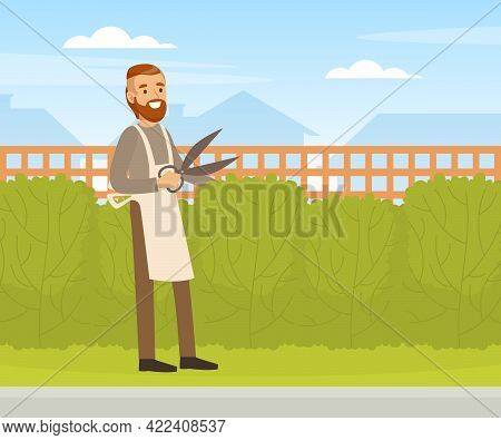 Young Man Trimming Hedge With Shears, Male Gardener Working In Garden Vector Illustration