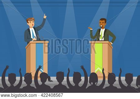 Leaders Of Opposing Political Parties Talking On Public Debates, Politicians Standing Behind Rostrum