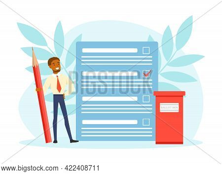 Tiny Voter Filling Out Ballot At Democracy Election Campaign Vector Illustration