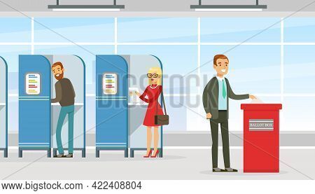Voting And Election Campaign, Voters Casting Ballots At Polling Paper Ballot In Box Vector Illustrat
