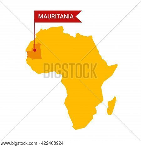 Mauritania On An Africa S Map With Word Mauritania On A Flag-shaped Marker.