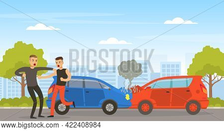 Conflict Between Two Car Drivers On Street, Aggressive Men Arguing On Road Vector Illustration