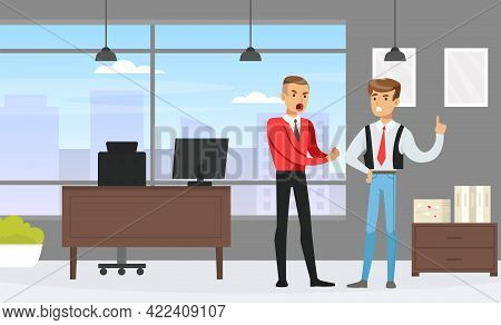 Male Employees Arguing In Office, Human Relations, Conflict Between Colleagues Vector Illustration.