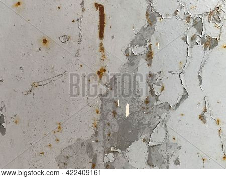The Metal Iron Surface Of The Sheet Is Old Shabby Shabby With Rust And Painted With Gray Paint. The