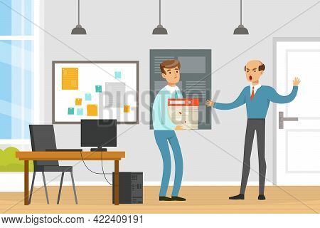 Angry Boss Firing Employee, Human Resource, Employee Dismissal, Office Conflict Concept Vector Illus