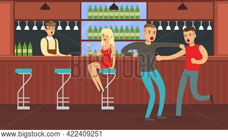 Two Drunk Men Fighting In Bar, Conflict Between People, Human Relations Vector Illustration