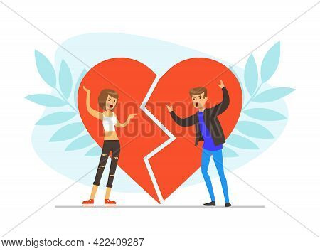 Loving Couple Fighting And Arguing Against Broken Heart, Conflict Between Husband And Wife, Divorce,