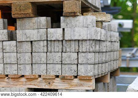 Gray Cobble Stones On Palette At Construction Site