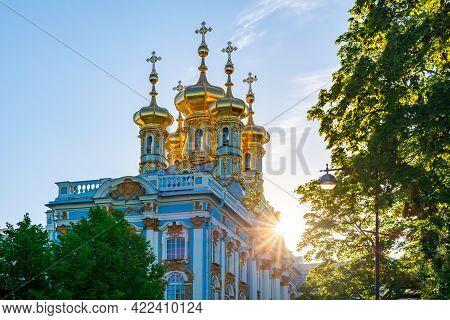 Resurrection Church Dome Of Catherine Palace In Tsarskoe Selo (pushkin) At Sunset, Saint Petersburg,