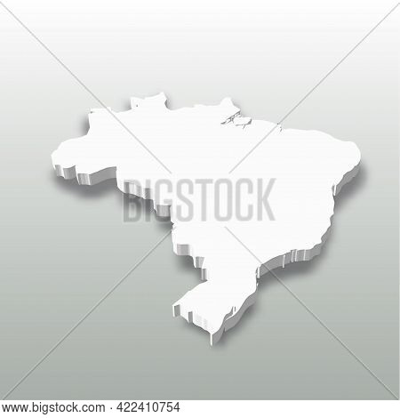 Brazil - White 3d Silhouette Map Of Country Area With Dropped Shadow On Grey Background. Simple Flat