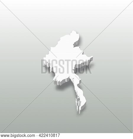 Burma, Myanmar - White 3d Silhouette Map Of Country Area With Dropped Shadow On Grey Background. Sim