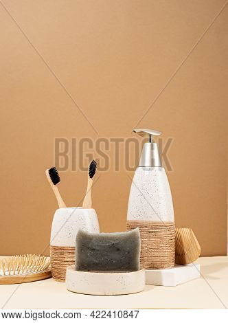 Natural Cosmetics In Beige Tones. Handmade Soap, Wooden Brushes And Bamboo Toothbrushes