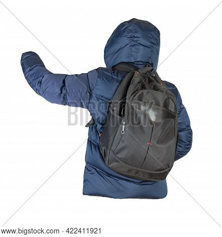 Black  Backpack Dressed In Dark Blue Down Jacket With Hood Isolated On A White Background. Rear View