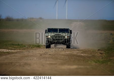 Smardan, Romania - May 11, 2021: Romanian Army Uro Vamtac Armored Vehicle In A Joint Military Exerci