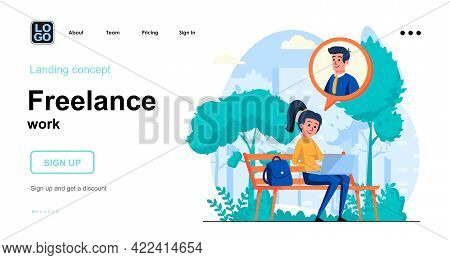 Freelance Work Web Concept. Woman Working On Laptop From City Park, Freelancer Or Remote Worker. Tem