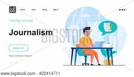 Journalism Web Concept. Journalist Writes Article, Copywriter Prepares Text For Publication In Blog.