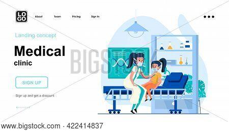 Medical Clinic Web Concept. Pediatrician Examines Child, Listens Via Stethoscope, Health Checkup. Te