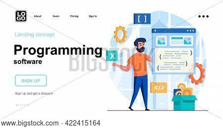 Programming Software Web Concept. Developer Creates Interface Of Application, Program Or Website. Te