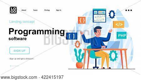 Programming Software Web Concept. Man Programmer Creates Software, Programs And Applications. Templa