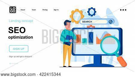 Seo Optimization Web Concept. Man Analyzing Data, Search Settings, Website Traffic, Page Promotion.