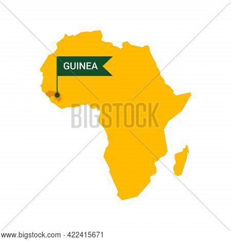Guinea On An Africa S Map With Word Guinea On A Flag-shaped Marker. Vector Isolated On White Backgro