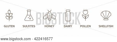Allergen Line Icon Big Set. Organic And Natural Food Labels. Allergy Warning Ingredients Badges. Nut