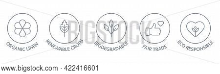 Sustainable Clothes Line Icon Set. Slow Fashion Badge. Organic Cotton, Natural Dyes Label. Eco Visco