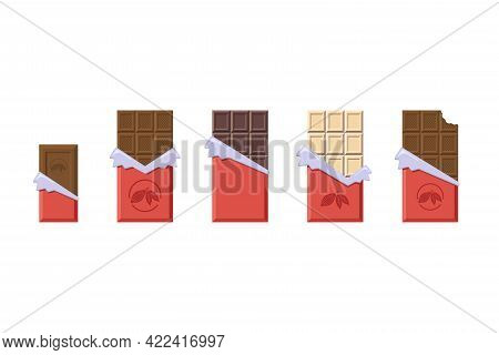 Milk, Dark And White Chocolate Bars In Opened Red Wrapper And Foil Collection. Flat Style Cacao Cand