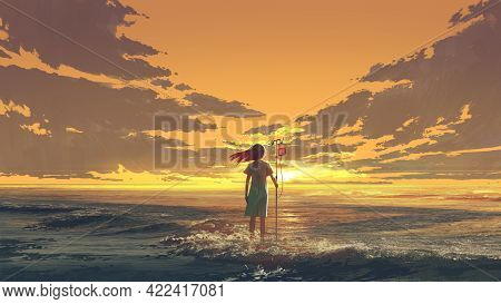 Woman Standing On The Sea With Iv Pole With Blood Bag And Looking The Sunset Sky, Digital Art Style,