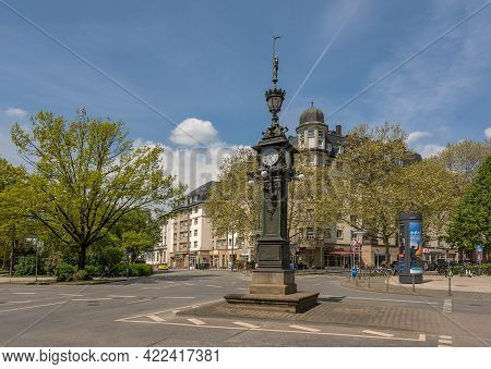 Frankfurt Am Main, Germany-may 03, 2021: Small Clock Tower At The Friedberger-anlage, Downtown, Fran