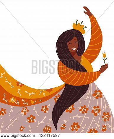 Ethnic Ritual Dance Concept. Beautiful Young Dark-skinned Woman Dancing Wearing Traditional Dress Wi