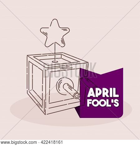 Isolated Box Star Line April Fools Humor Icon- Vector