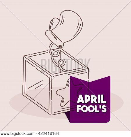 Isolated Box Fist Line April Fools Humor Icon- Vector