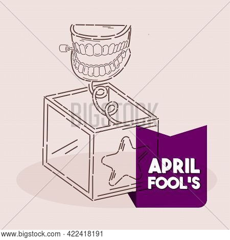 Isolated Box Smile April Line Fools Humor Icon- Vector