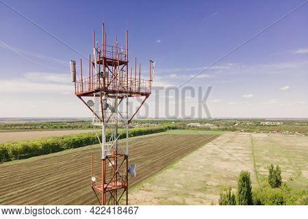 Telecommunication Anyenna Tower Witn 5g And 4g Base Network, Telecomunication Base Station. 5g Anten