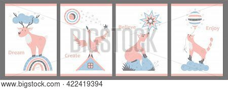 Set Of Nursery Cute Posters. Vector Illustrations With Animals For Children. Deer, Fox, Cat And Goos