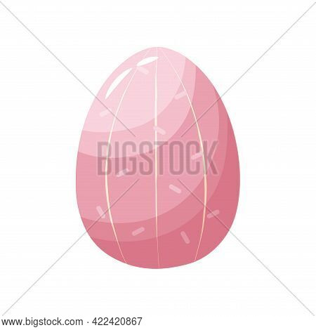 Isolated Pink Easter Egg Symbol Holiday Vector Illustration