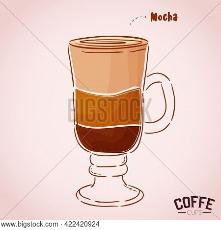 Clear Cup Glass Coffee Drink Color Vector Illustration