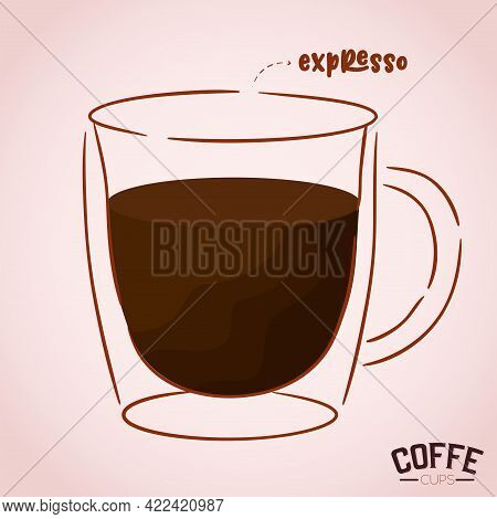 Clear Cup Coffee Drink Color Vector Illustration