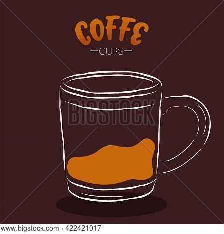 Dark Cup Coffee Drink Color Vector Illustration