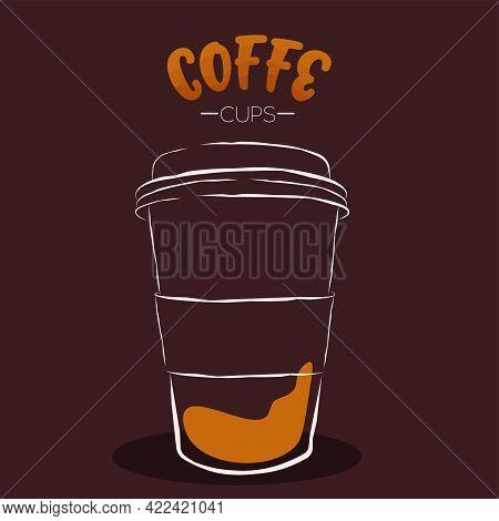 Dark Cup Cartoon Coffee Drink Color Vector Illustration