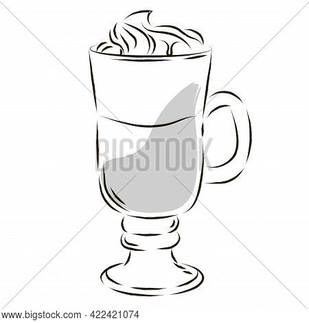 Isolated Cup Glass Coffee Drink Draw Vector Illustration