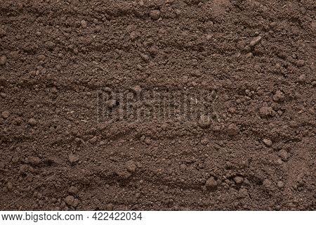 Texture Of Black Soil, Soil, Manure, Fertile Land Top View, Concept Of Agriculture, Farming, Garden