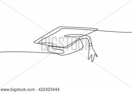 Single Continuous Line Drawing Of Gown Graduation Uniform Set. Graduation Hat For Bachelor. Back To