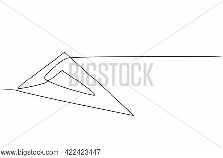 Single Continuous Line Drawing Of Plastic Triangle Ruler. Measurement Tool For Student. Back To Scho
