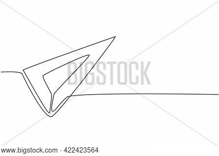 Continuous One Line Drawing Stainless Triangle Ruler. Measurement Tool To Measure Length. Back To Sc