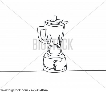 Single Continuous Line Drawing Of Electric Blender Household Utensil. Electronic Home Appliance For